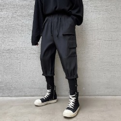 111414 루즈핏 빅 포켓 밴딩 조거 트레이닝 팬츠(Black)