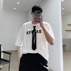 111519 루즈핏 넥타이 레이어드 반팔 티셔츠(2color)