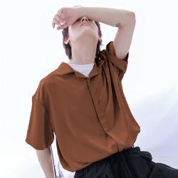111537 소프트 비스코스 오픈카라 반팔 셔츠(2color)