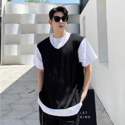 111521 페이크 베스트 레이어드 반팔 티셔츠(Black)