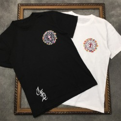111556 레인보우 유화 레터링 프린팅 반팔 티셔츠(2color)