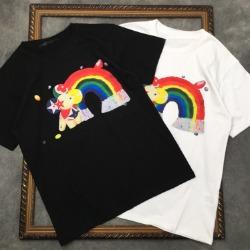 111541 체스트 레인보우 카툰 프린팅 반팔 티셔츠(2color)