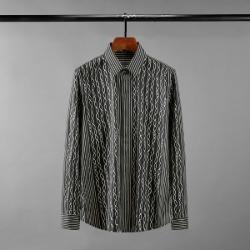 111623 체인 스트라이프 히든버튼 긴팔 셔츠(Black)