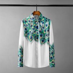 111626 피콕 프린팅 배색 히든버튼 긴팔 셔츠(White)