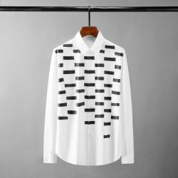 111641 스퀘어 도트 프린팅 긴팔 셔츠(White)