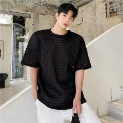 111633 체인 메쉬 시스루 반팔 티셔츠(2color)
