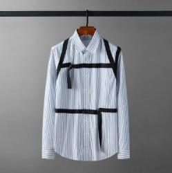 111653 숄더 체스트 스트랩 스트라이프 긴팔 셔츠(Blue)