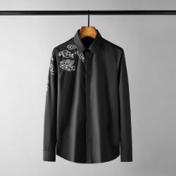 111637 클라우드 실버 스티치 자수 긴팔 셔츠(Black)