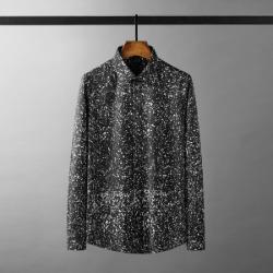 111610 스프레드 눈꽃 프린팅 긴팔 셔츠(Black)
