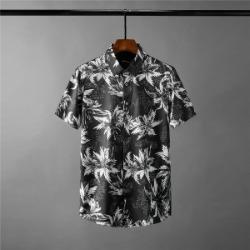 111657 격자 배색 리프 프린팅 반팔 셔츠(Black)