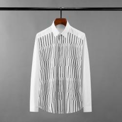 111618 언밸런스 스트라이프 배색 긴팔 셔츠(White)