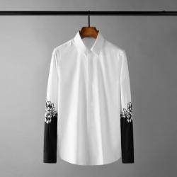 111624 플라워 팔 배색 히든버튼 긴팔 셔츠(White)
