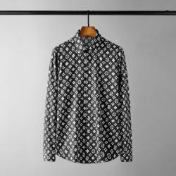 111625 지오메트릭 격자 프린팅 긴팔 셔츠(Black)
