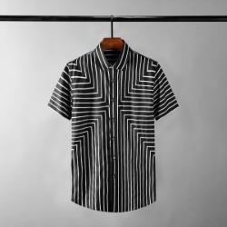 111651 지오메트릭 스트라이프 배색 반팔 셔츠(2color)