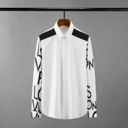 111619 레터링 팔 배색 히든버튼 긴팔 셔츠(White)