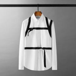 111636 체스트 숄더 스트랩 라인 긴팔 셔츠(White)