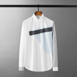 111605 잔스트라이프 언밸런스 배색 긴팔 셔츠(White)