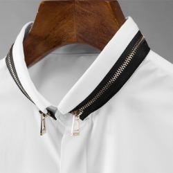 111615 카라 배색 지퍼 포인트 긴팔 셔츠(2color)