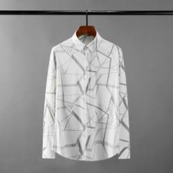 111620 그라데이션 격자 프린팅 긴팔 셔츠(White)
