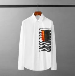 111654 스퀘어 지브라 배색 긴팔 셔츠(White)
