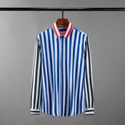 111621 카라 배색 볼드 스트라이프 긴팔 셔츠(Blue)
