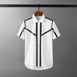 111698 테이핑 라인 배색 반팔 셔츠(White)