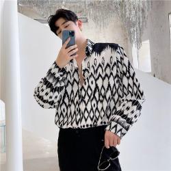 111710 피더 자가드 패턴 루즈핏 긴팔 셔츠(White)
