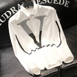 111798 V 비즈 배색 프린팅 긴팔 셔츠(2color)