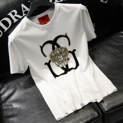 111766 로얄 자수 패치 프린팅 반팔 티셔츠(2color)