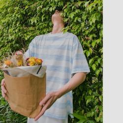 111684 파스텔 스트라이프 단가라 반팔 티셔츠(2color)