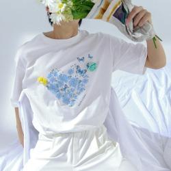 111679 하트 플라워 프린팅 반팔 티셔츠(2color)