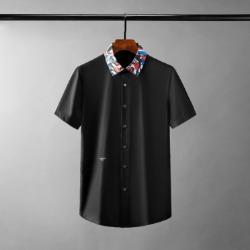111701 카모플라쥬 카라 허니비 자수 반팔 셔츠(2color)