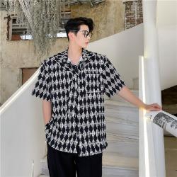 111687 다이아그날 도트 패턴 넥타이 반팔 셔츠(Black)