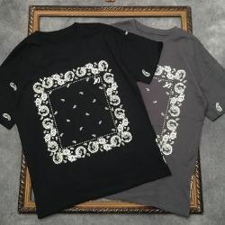 111816 에스닉 스퀘어 플라워 프린팅 반팔 티셔츠(2color)