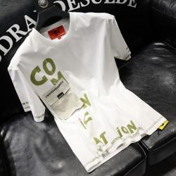 111734 코믹아트 레터링 배색 반팔 티셔츠(2color)