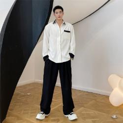 111903 카라 소매 띠 배색 루즈핏 긴팔 셔츠(White)