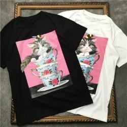 111881 머그 캣 프린팅 반팔 티셔츠(2color)
