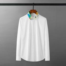111930 플라워 카라 배색 히든버튼 긴팔 셔츠(2color)