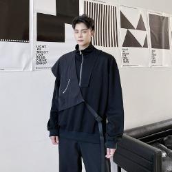 111906 페이크 레이어드 풀오버 긴팔 티셔츠(Black)