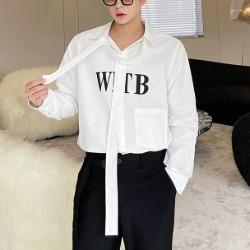 112024 리본 타이 포인트 체스트 레터링 긴팔 셔츠(White)