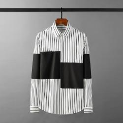 111932 잔스트라이프 절개 배색 긴팔 셔츠(2color)