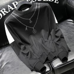 112033 다이아 스컬 목걸이 프린팅 맨투맨 티셔츠(Black)