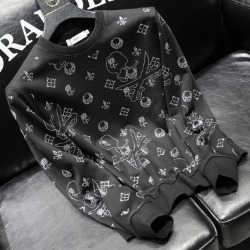 112035 멀티 스컬 다이아 프린팅 맨투맨 티셔츠(Black)
