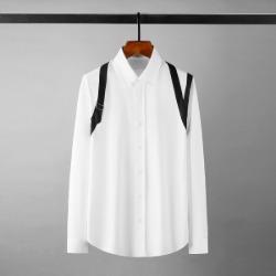 111887 숄더 스트랩 포인트 긴팔 슬림 셔츠(White)