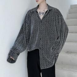 111905 엔틱 하운드투스 루즈핏 긴팔 셔츠(Black)
