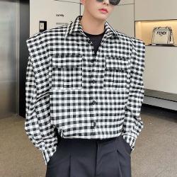 112074 벌룬 숄더 포인트 체크 긴팔 셔츠(Black)