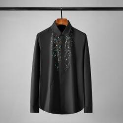 112143 컬러 페인팅 벌자수 슬림핏 긴팔셔츠(2color)