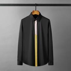 112140 트리플 앞띠배색 히든버튼 긴팔셔츠(2color)