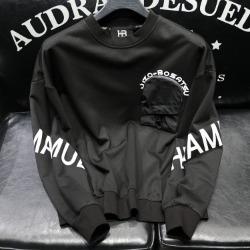 112158 지퍼 포켓 레터링 맨투맨 티셔츠(Black)