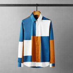 112142 언발란스 스퀘어 패턴 히든 긴팔셔츠(Blue)